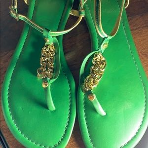 Tory Burch Green with Gold Chain and Trim Sandals